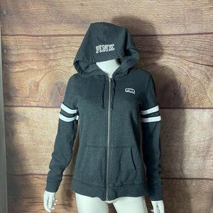 PINK Womens Hoodie Gray White Sleeve Size Small